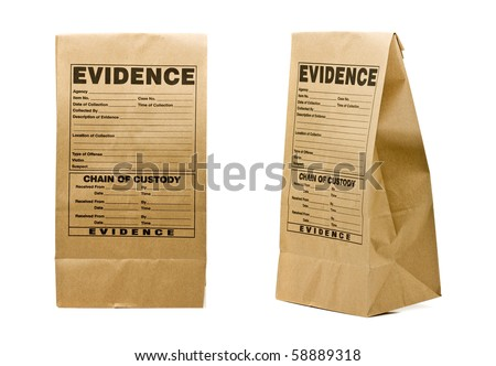 Paper evidence bag front and side isolated on white background - stock photo