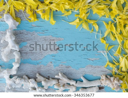 Paper flower or Mari gold and sea shells frame decorated on grunge blue wood background,Top view - stock photo