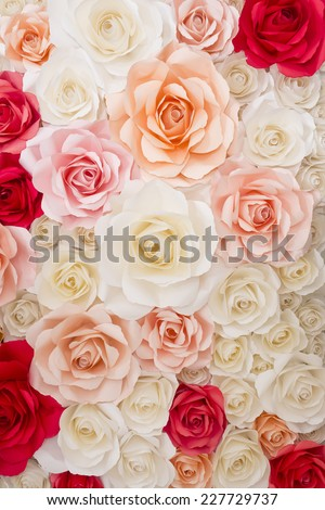 paper flowers ,Colorful flowers paper background pattern lovely  - stock photo