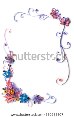 Paper flowers quilling frame with batterflies - stock photo
