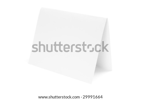 Paper Folded in Half on White Background - stock photo