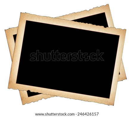 paper frames with frayed edges on white background - stock photo