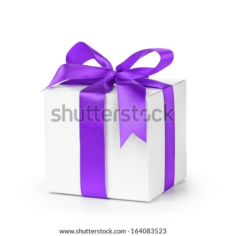 paper gift box wrapped with purple ribbon, isolated on white - stock photo
