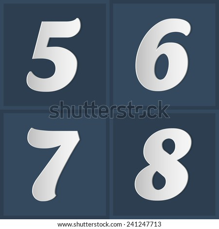 Paper Graphic Alphabet Set Number 5 6 7 8 - stock photo