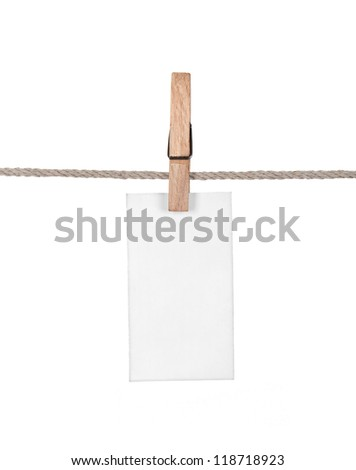 Paper hang on clothesline isolated. Series - stock photo