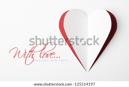 Paper heart with copy space, valentine's card - stock photo
