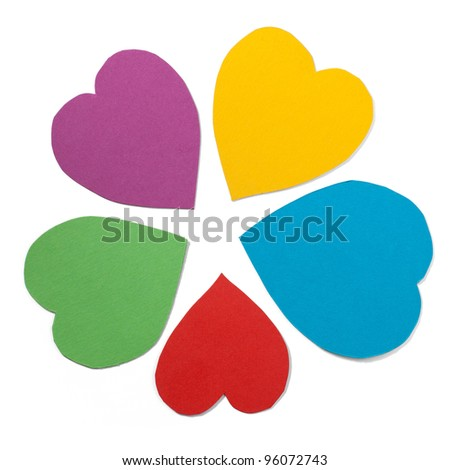 Paper hearts in star shape. Path included. - stock photo