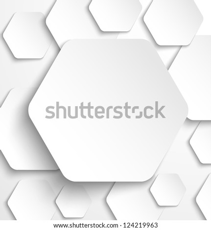 Paper hexagon banner with drop shadows. Raster version - stock photo