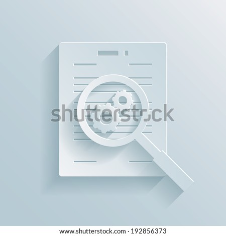 Paper icon depicting the preparation of a business contract with a magnifying glass with gear wheels hovering over a documents showing a work in progress - stock photo