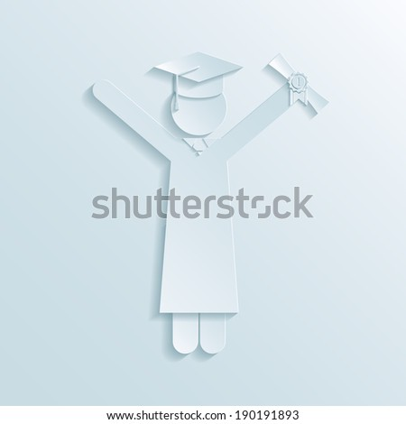 Paper icon of graduate in graduation gown and mortarboard hat holding diploma in the air while celebrating graduation at the end of college studies - stock photo
