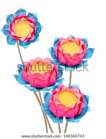 Paper lotus origami branches isolated white - stock photo