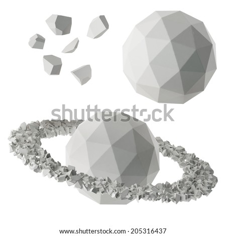 paper low poly planets and asteroids - stock photo