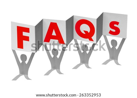 Paper men with flag writing FAQs - stock photo