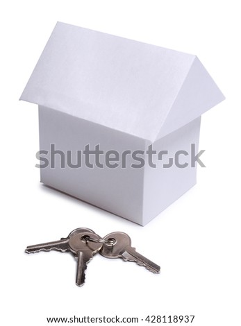 Paper model house and padlock on white background      - stock photo