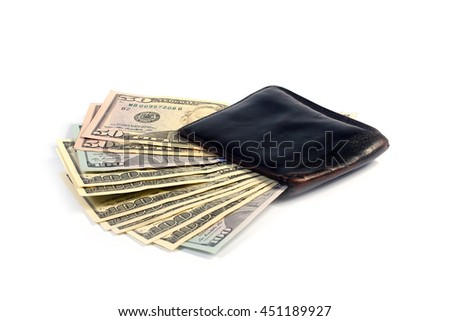 paper money dollars in old leather purse - stock photo