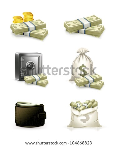 Paper money set, bitmap copy - stock photo