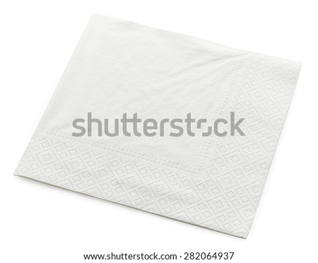 paper napkin isolated on white background - stock photo