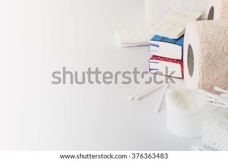 Paper napkins and towels, handkerchiefs hygiene. - stock photo