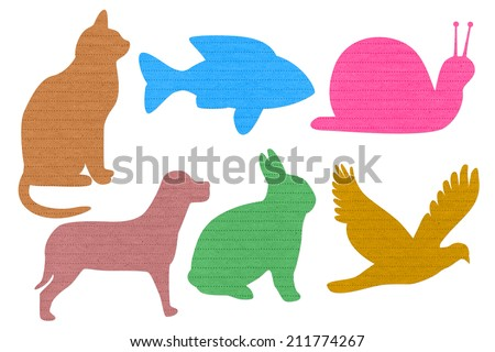 Paper note animals isolated on white background - stock photo