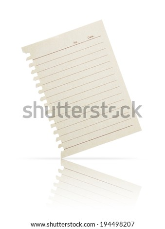 Paper note ripped off from the notebook isolated on white background with shadow. - stock photo