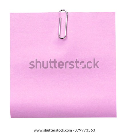 Paper notes with clip isolated on white (clipping path) - stock photo