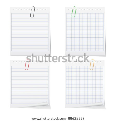 Paper notes with clips - stock photo