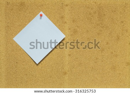 Paper on cork board for notice background - stock photo