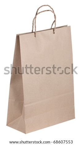 Paper package with handles, isolated on a white background - stock photo