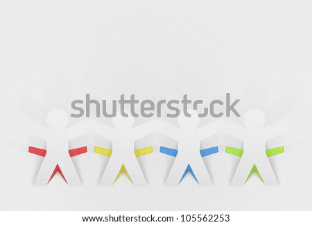 paper people made by recycled paper - stock photo