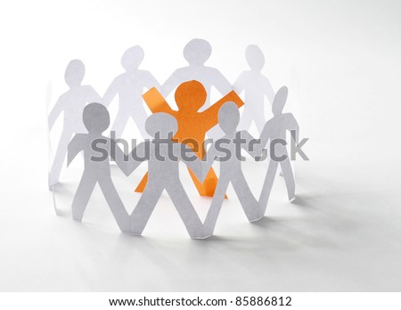 Paper people with their leader - stock photo