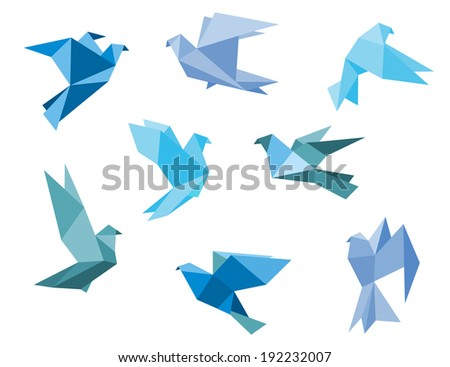 Paper pigeons and doves logo set in origami style. Vector version also available in gallery - stock photo