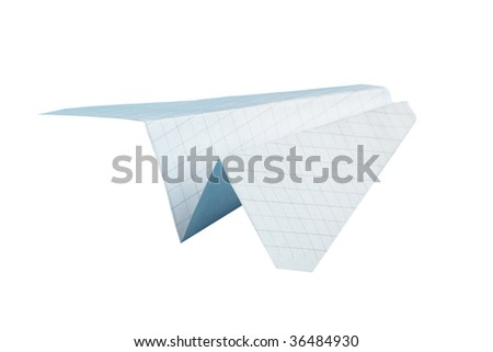 Paper plane isolated over the white background - stock photo