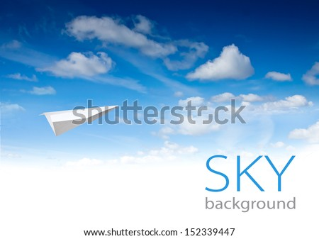 Paper planes and sky background  - stock photo