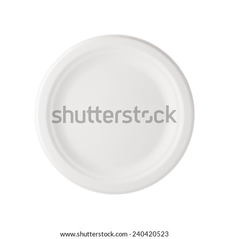 Paper Plate isolated with a clipping path. - stock photo