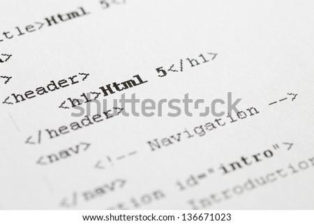 Paper Print Of Html5 Code. - stock photo