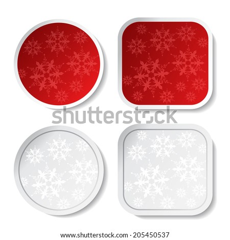 paper red and white Christmas stickers - stock photo