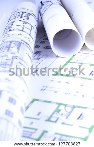 paper rolls sketches - stock photo