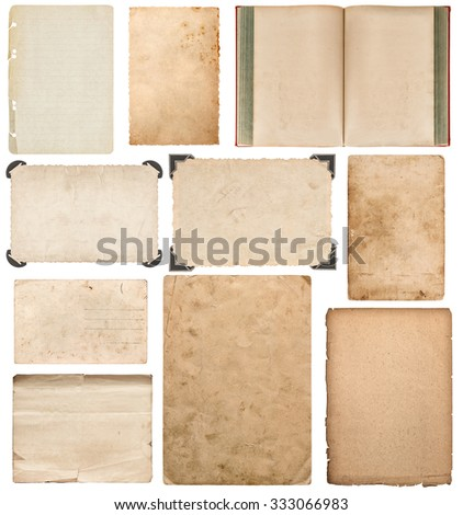 Paper sheet, book, cardboard, photo frame with corner isolated on white background. Set of scrapbook elements - stock photo