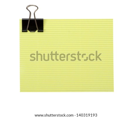 Paper sheet for letter with clip isolated on a white background - stock photo