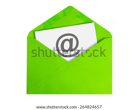 Paper sheet with email icon in green envelope - stock photo
