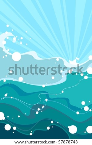 Paper ship in the sea (raster version) - stock photo