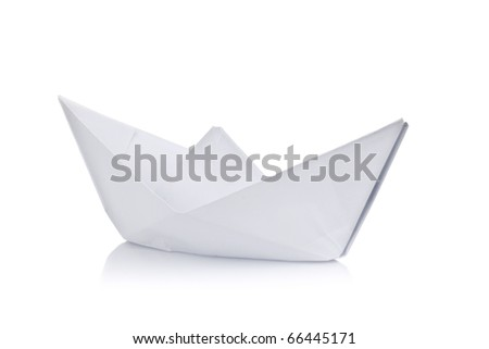 Paper ship on white background - stock photo