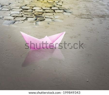 Paper ship. travel. - stock photo