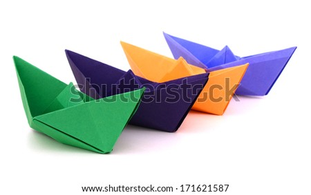 Paper ships on a white background  - stock photo