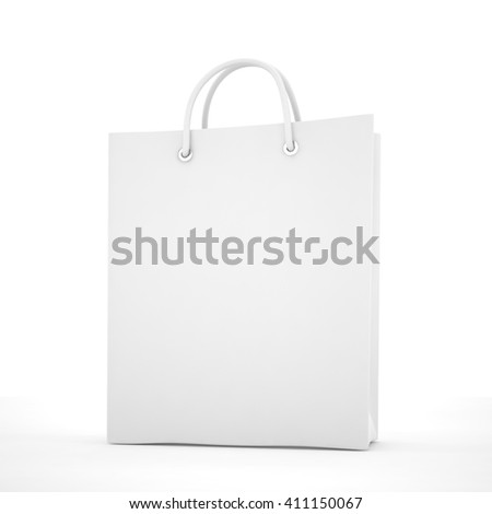 Paper Shopping Bag isolated on white background. 3d rendering. - stock photo