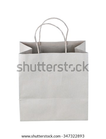 Paper Shopping Bag Isolated On White Background. with clipping path. - stock photo
