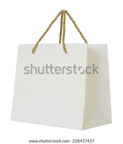 paper shopping bag isolated on white with clipping path - stock photo
