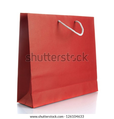 Paper shopping bag on white background - stock photo
