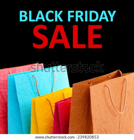 Paper shopping bags and Black Friday Sale text - stock photo