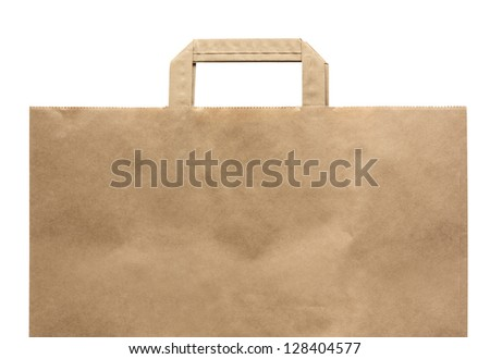 Paper shopping eco bag with handle isolated over white background. - stock photo